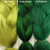 Color comparison from left to right: Olive Green, Jungle Green, 1B Off Black/Emerald Green Mix