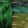 Color comparison: Jungle Green on the left and Dark Pine, Light Pine, Olive Green, and Pistachio on the right