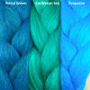 Color comparison from left to right: Petrol Green, Caribbean Sea, Turquoise