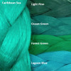 Color comparison: Caribbean Sea on the left and Light Pine, Ocean Green, Forest Green, and Lagoon Blue on the right
