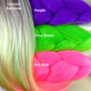 Color comparison: Unicorn Rainbow on the left and Purple, Lime Green, and Hot Pink on the right