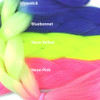 Color comparison: Glowstick on the left and Bluebonnet, Neon Yellow, and Neon Pink on the right