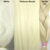 Color comparison from left to right: White, Platinum Blonde, Vanilla Ice