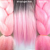 Color comparison from left to right: Pastel Pink, 1B Off Black with Light Pink Tips, Baby Pink