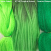 Color comparison from left to right: Lime Green, 1B Off Black with Tropical Green Tips, Emerald Green