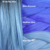 Color comparison: 1B Off Black with Sky Blue Tips on the left and Blue Shimmer, Medium Blue, and Blue Silk on the right