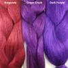 Color comparison from left to right: Burgundy, Grape Crush, Dark Purple