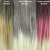 Color comparison from left to right: Latte Ombré, BT4/PB Dark Brown with Platinum Blonde Tips, Cherry Bomb Ombré