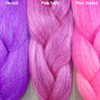 Color comparison from left to right: Orchid, Pink Taffy, Pink Ombré