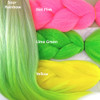 Color comparison: Sour Rainbow on the left and Hot Pink, Lime Green, and Yellow on the right
