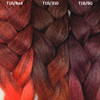 Color comparison from left to right: T1B/Red Off Black with Red Tips, T1B/350 Off Black with Rusty Red Tips, and T1B/BG Red Wine with Burgundy Tips on the right.