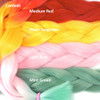 Color comparison: Confetti on the left Medium Red, Neon Tangerine, Light Pink, and Mint Green on the right