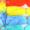 Color comparison: Paradise on the left and Red, Yellow, Polar Blue, and Sky Blue on the right