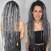 Synthetic dreads made by Yvonne in Metallic, Silver, Slate Grey, and Storm