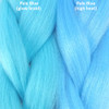 Color comparison from left to right: Pale Blue Glow Braid, Pale Blue high heat