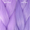 Color comparison from left to right: Lilac Glow Braid, Lilac high heat