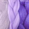 Color comparison from left to right: Lavender, Lilac, Medium Purple