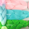 Color comparison: Candyfloss/Light Denim/Mojito on the left and Pastel Pink, Sky Blue, and Lime Green on the right