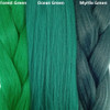 Color comparison from left to right: Forest Green, Ocean Green, Myrtle Green