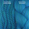 Color comparison from left to right: Petrol Green marley braid, Petrol Green kk jumbo braid