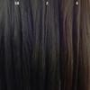Color comparison from left to right: 1B Off Black, 2 Darkest Brown, 4 Dark Brown