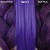 Color comparison from left to right: Black Orchid, Eggplant, Dark Plum
