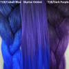 Color comparison from left to right: 1B Off Black with Cobalt Blue Tips, Skyrise Ombré, 1B Off Black with Dark Purple Tips