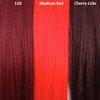Color comparison from left to right: 118 Blood Red, Medium Red, Cherry Cola