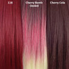 Color comparison from left to right: 118 Blood Red, Cherry Bomb Ombré, Cherry Cola
