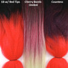 Color comparison from left to right: 1B Off Black with Red Tips, Cherry Bomb Ombré, Countess