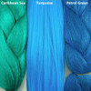 Color comparison from left to right: Caribbean Sea, Turquoise, Petrol Green