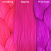 Color comparison from left to right: Strawberry, Magenta, Neon Violet
