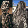 Caitlin wearing dreads in B44 Gunmetal, 51 Grey, 280 Silvery Smoke, and Silk Dream