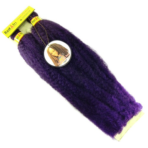 "RastAfri 19"" Malibu Afro Kinky, 1B Off Black with Dark Purple Tips"