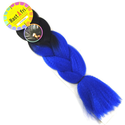Kanekalon Highlight Braid, 1B Off Black with Navy Blue Tips (RastAfri)