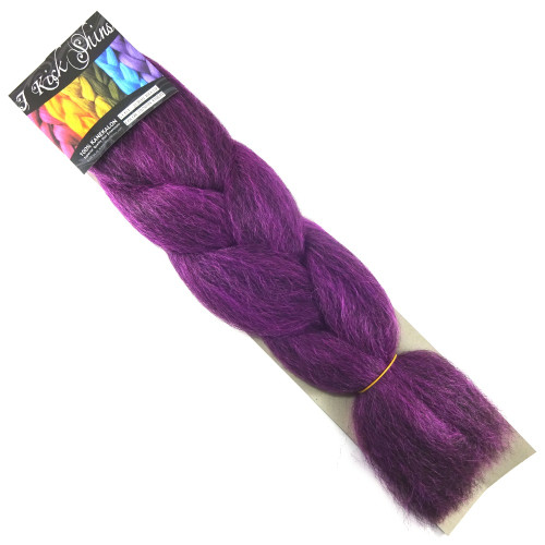 Kanekalon Jumbo Braid, 1B Off Black/Neon Violet Mix (I Kick Shins)