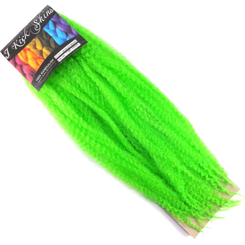 "17"" Crinkle Twist Braid, Lime Green (I Kick Shins)"