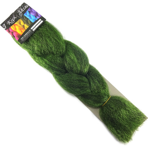 Kanekalon Jumbo Braid, 1B Off Black/Lime Green Mix (I Kick Shins)