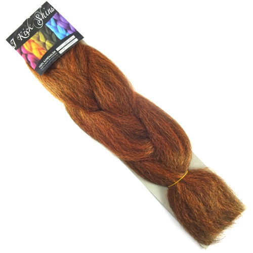 IKS Kanekalon Jumbo Braid, 1B Off Black/Orange Mix