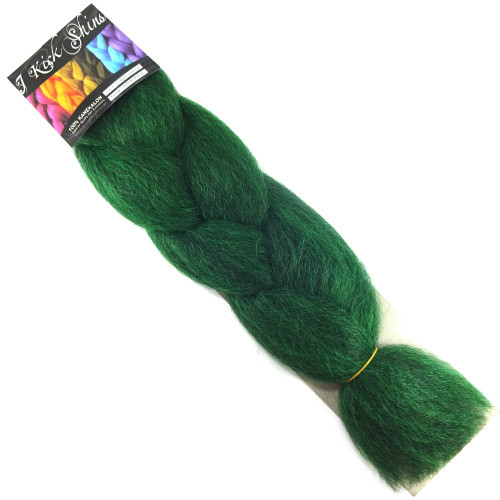 Kanekalon Jumbo Braid, 1B Off Black/Emerald Green Mix (I Kick Shins)