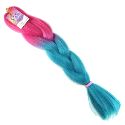 High Heat Festival Braid, Berry Pink with Lagoon Blue Tips