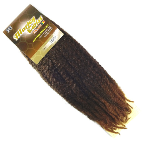"Afro Beauty 17"" Marley Twist Braid, T1B/30 Off Black with Light Auburn Tips"