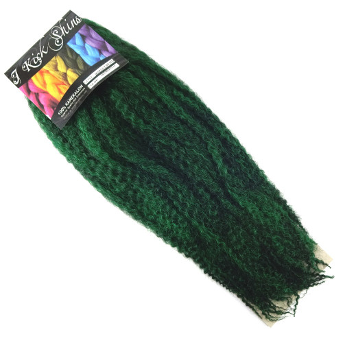 "IKS 17"" Crinkle Twist Braid, 1B Off Black/Emerald Green Mix"