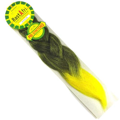 RastAfri Pre-Stretched Freed'm Silky Braid, 1B Off Black with Yellow Tips