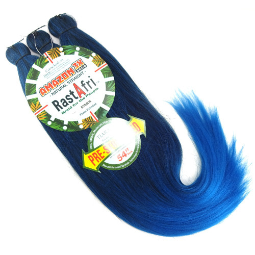 RastAfri Pre-Stretched Amazon 3X Braid, 1B Off Black with Cobalt Blue Tips