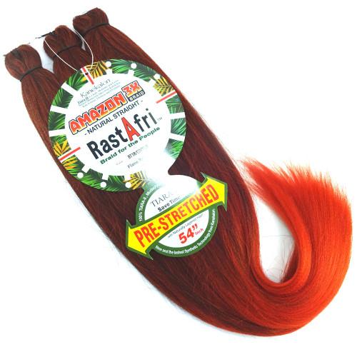 RastAfri Pre-Stretched Amazon 3X Braid, 1B Off Black with Copper Orange Tips