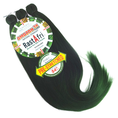 Pre-Stretched Amazon 3X Braid, 1B Off Black with Jungle Green Tips (RastAfri)