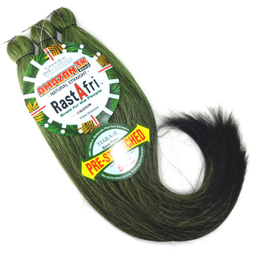 RastAfri Pre-Stretched Amazon 3X Braid, 3T/Blackslime