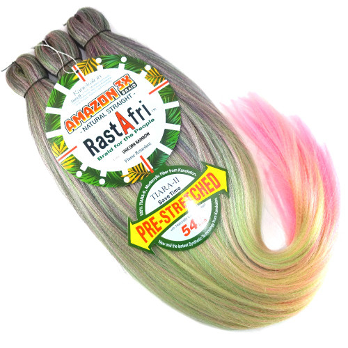 RastAfri Pre-Stretched Amazon 3X Braid, Unicorn Rainbow