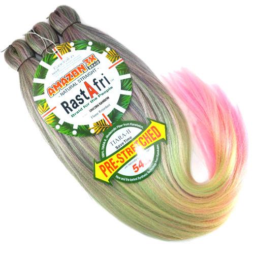 RastAfri Pre-Stretched Amazon 3X Braid, Unicorn Rainbow